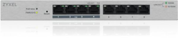 Zyxel GS1200-8HP V2, 8 Port Gigabit PoE+ Switch, 4x PoE, 60 W